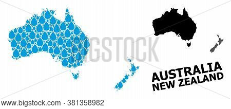 Vector Mosaic And Solid Map Of Australia And New Zealand. Map Of Australia And New Zealand Vector Mo