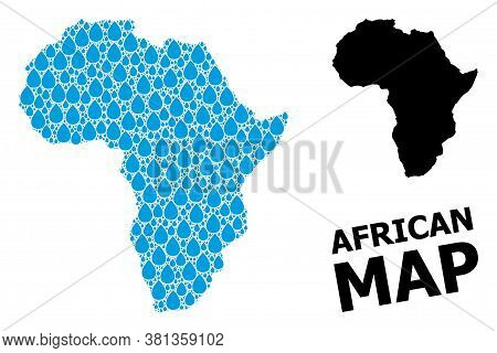Vector Mosaic And Solid Map Of Africa. Map Of Africa Vector Mosaic For Clean Water Ads. Map Of Afric