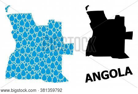 Vector Mosaic And Solid Map Of Angola. Map Of Angola Vector Mosaic For Drinking Water Ads. Map Of An
