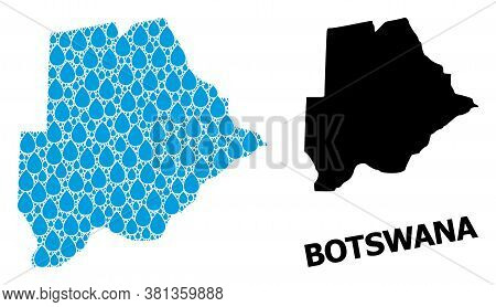 Vector Mosaic And Solid Map Of Botswana. Map Of Botswana Vector Mosaic For Clean Water Ads. Map Of B