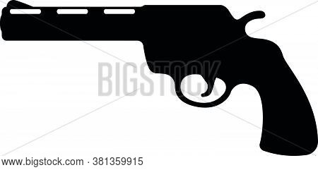 Revolver Pistol Icon, Self Defense Weapon, Concept Simple Black Vector Illustration, Isolated On Whi