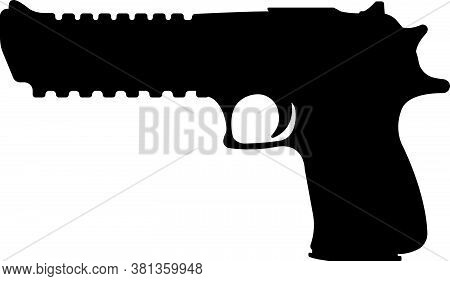 Desert Eagle Pistol Icon, Self Defense Weapon, Concept Simple Black Vector Illustration, Isolated On