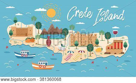 Crete Island Map With Architecture Illustration. Crete Famous Landmarks, City Sights. Greece Beach L
