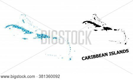 Vector Mosaic And Solid Map Of Caribbean Islands. Map Of Caribbean Islands Vector Mosaic For Clean W