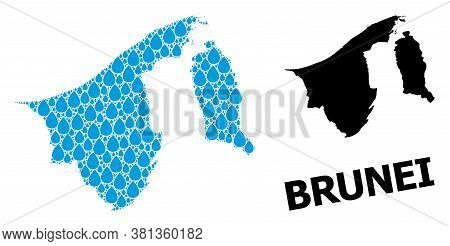 Vector Mosaic And Solid Map Of Brunei. Map Of Brunei Vector Mosaic For Pure Water Ads. Map Of Brunei