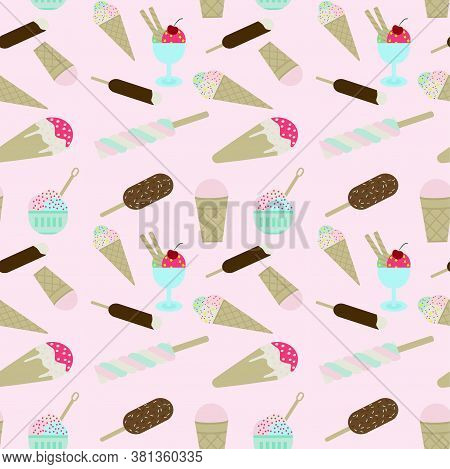 Ice Cream Seamless Pattern. A Repeating Pattern With Different Types Of Ice Cream. Background For De