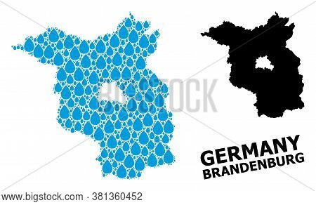 Vector Mosaic And Solid Map Of Brandenburg State. Map Of Brandenburg State Vector Mosaic For Drinkin