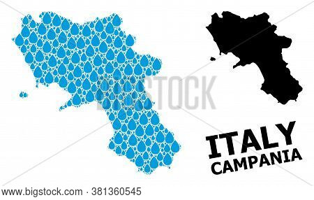 Vector Mosaic And Solid Map Of Campania Region. Map Of Campania Region Vector Mosaic For Drinking Wa