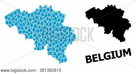 Vector Mosaic And Solid Map Of Belgium. Map Of Belgium Vector Mosaic For Drinking Water Ads. Map Of