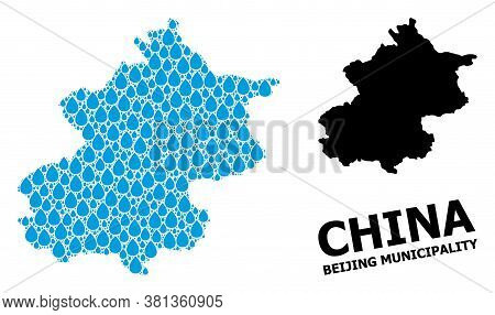 Vector Mosaic And Solid Map Of Beijing Municipality. Map Of Beijing Municipality Vector Mosaic For D
