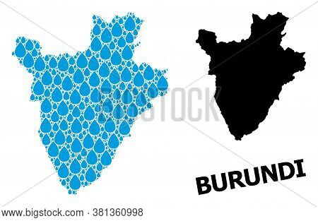 Vector Mosaic And Solid Map Of Burundi. Map Of Burundi Vector Mosaic For Clean Water Ads. Map Of Bur