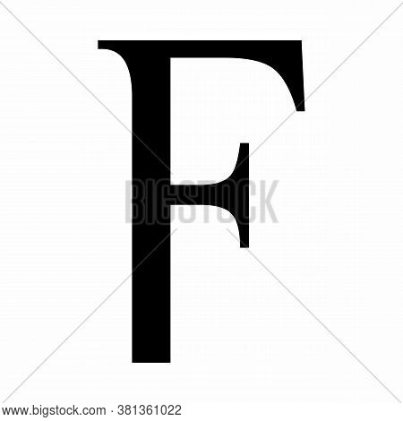 Lowercase Digamma Greek Sign On White Background