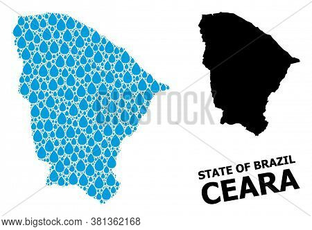 Vector Mosaic And Solid Map Of Ceara State. Map Of Ceara State Vector Mosaic For Clean Water Ads. Ma