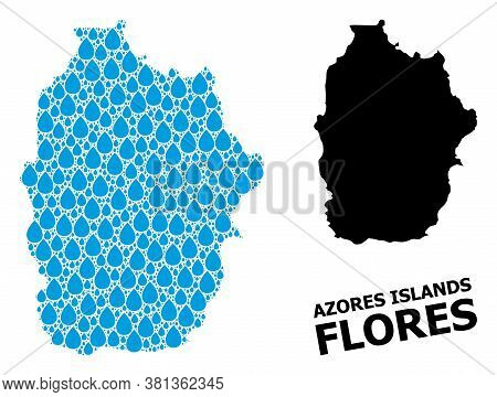 Vector Mosaic And Solid Map Of Azores - Flores Island. Map Of Azores - Flores Island Vector Mosaic F