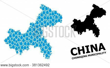 Vector Mosaic And Solid Map Of Chongqing Municipality. Map Of Chongqing Municipality Vector Mosaic F