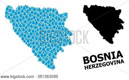 Vector Mosaic And Solid Map Of Bosnia And Herzegovina. Map Of Bosnia And Herzegovina Vector Mosaic F