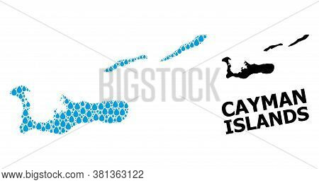 Vector Mosaic And Solid Map Of Cayman Islands. Map Of Cayman Islands Vector Mosaic For Drinking Wate