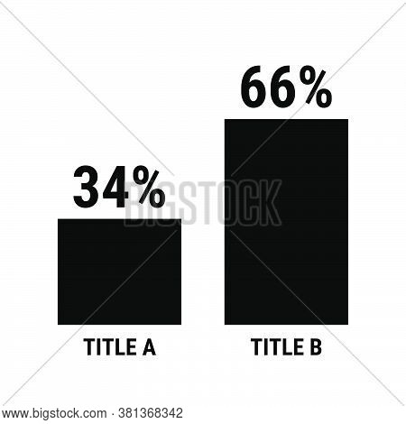 Compare Thirty Four And Sixty Six Percent Bar Chart. 34 And 66 Percentage Comparison. Black Vector G