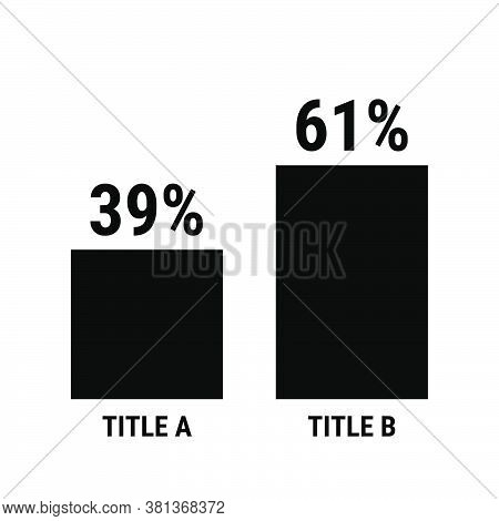 Compare Thirty Nine And Sixty One Percent Bar Chart. 39 And 61 Percentage Comparison. Black Vector G