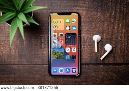 Antalya, Turkey - August 18, 2020.  New Ios 14 Screen Iphone, Apple's Next Operating System For Its