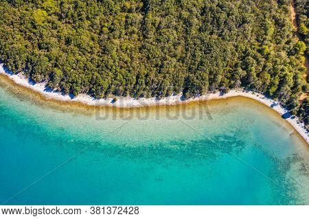 Amazing Adriatic Coastline In Croatia, Dugi Otok Island. Pine Woods, Long Hidden Secret Beaches And