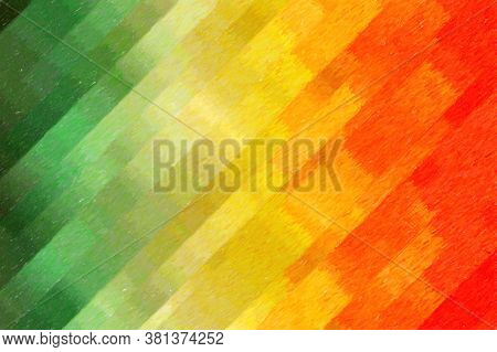 Green, Yellow And Red Stripes Color Pencil High Coverage Abstract Paint Background.
