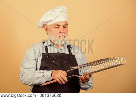 Cooking Healthy. Cook Men With Beard. Cooking Utensils For Barbecue. He Prefer Grill Food. Picnic An