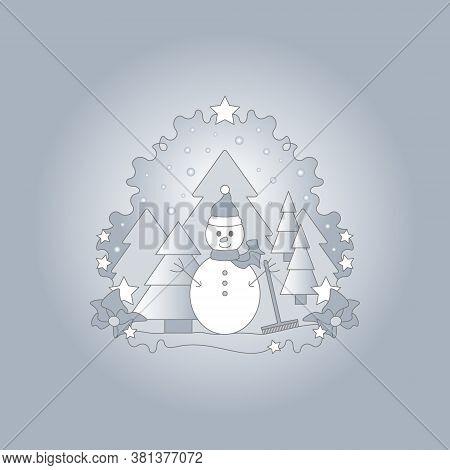 Pattern Christmas Theme. Snowman, Fir Forest, Falling Snow And Stars. Luminous Light. Vector Illustr