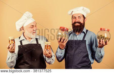 Prepare Food. Culinary Recipe. Culinary Book. Mature Bearded Men Professional Restaurant Cooks. Chef