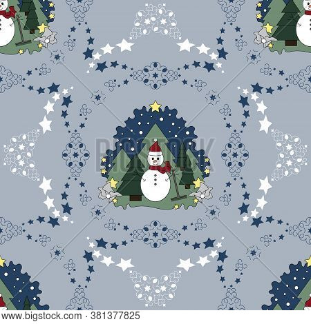 Seamless Pattern Christmas Theme. Snowman, Fir Forest, Falling Snow And Stars. Vector Illustration.
