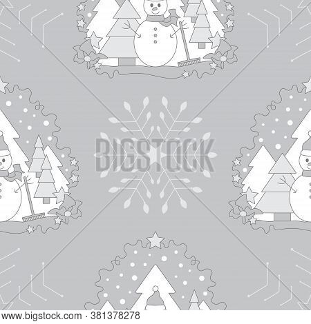 Seamless Pattern Christmas Theme. Snowman, Fir Forest, Falling Snow, Star And Flake. Vector Illustra