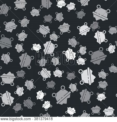 Grey Coal Mine Trolley Icon Isolated Seamless Pattern On Black Background. Factory Coal Mine Trolley