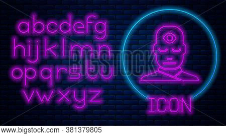 Glowing Neon Man With Third Eye Icon Isolated On Brick Wall Background. The Concept Of Meditation, V