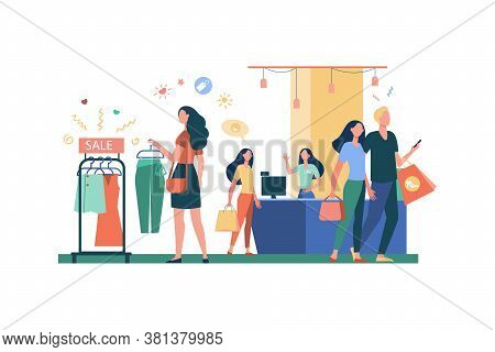 Women Buying Clothes In Clothing Store Isolated Flat Vector Illustration. Cartoon Girls And Consumer