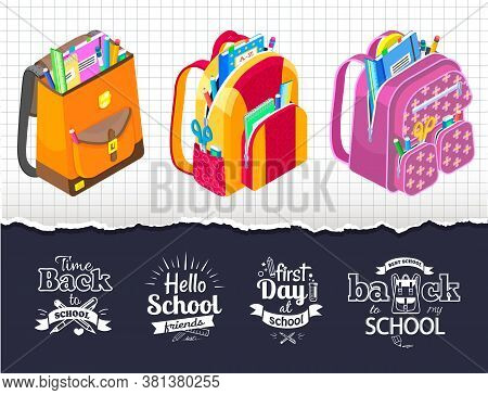 Set Of Bags With Supplies And Sketches. Satchels With Abc Book And Textbook, Scissors And Pencils. R