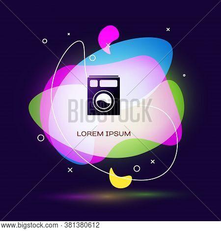 Black Washer Icon Isolated On Blue Background. Washing Machine Icon. Clothes Washer - Laundry Machin