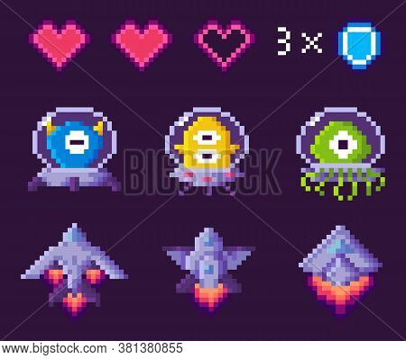 Pixel Game Vector, Character Of Galaxy, Points And Numbers. Spaceship With Trace, Heart Symbolizing