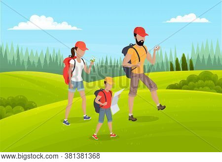 Family Active Lifestyle, Summer Travel Time. Happy People Mother, Father And Son Go To Camping. Fami