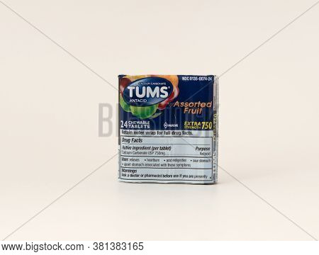 Davis, Ca, Aug 16, 2020. Tums, Assorted Fruit, 24 Chewable Tablets, Wrapped In Plastic, Calcium Carb