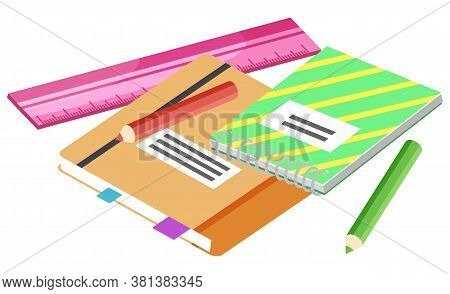 Supplier Isometric, Colorful Notebook With Pencil And Ruler. Back To School, Objects For Writing, Of