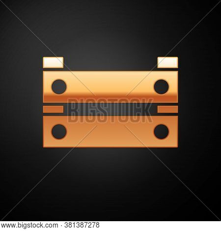 Gold Wooden Box Icon Isolated On Black Background. Grocery Basket, Storehouse Crate. Empty Wooden Co