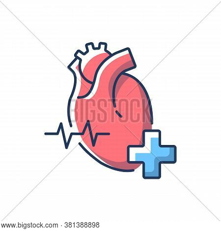 Cardiology Department Rgb Color Icon. Cardiologist. Cardiology Consultant. Heart Disease Treatment.