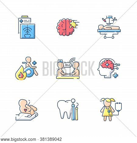 Healthcare Services Rgb Color Icons Set. Maternity And Psychiatric Ward. Burn Center. Ct Scan. Xrays