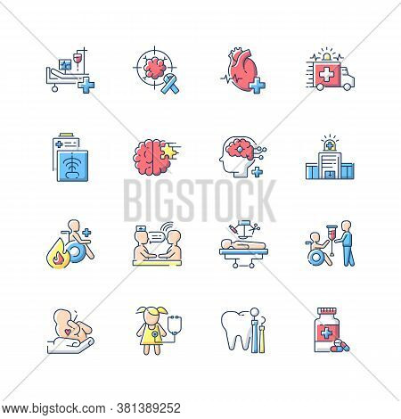 Hospital Rgb Color Icons Set. Walk In Clinic. Radiology And Cardiology Department. Icu. Hospital War