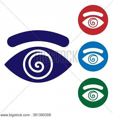 Blue Hypnosis Icon Isolated On White Background. Human Eye With Spiral Hypnotic Iris. Set Icons In C