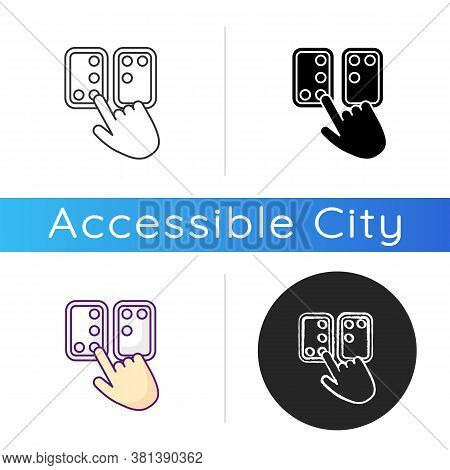 Braille Directions Icon. Tactile Reading System For Blind Persons. Writing System. Braille Code. Bli