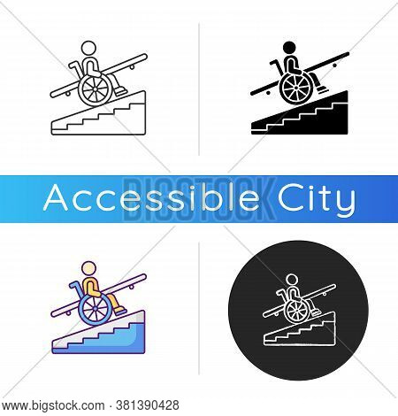 Step Free Access Icon. Wheelchairs And Strollers Access. Avoiding Stairs. Accessible Transportation.