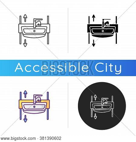 Adjustable Height Sink Icon. Rise And Fall Wash Basin For Wheelchair Users And Seniors. Medical Devi