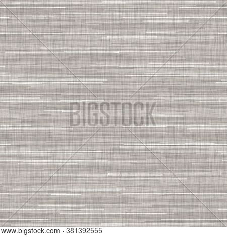 Seamless Gray French Woven Linen Texture Background. Farmhouse Ecru Flax Hemp Fiber Natural Pattern.