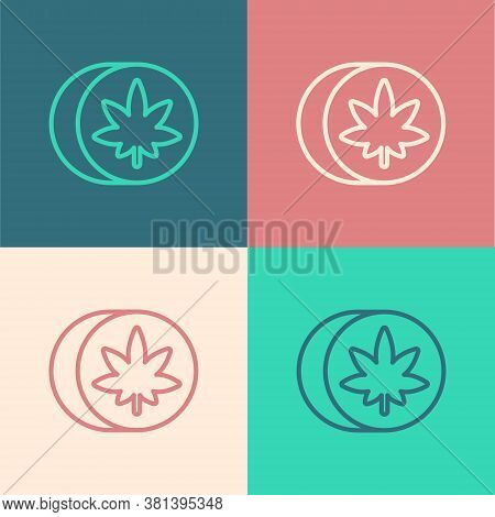Pop Art Line Herbal Ecstasy Tablets Icon Isolated On Color Background. Vector Illustration